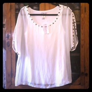 NWT Cach'e blouse with bronze detail